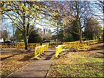 TF0920 : Footpath repairs in the park at Bourne, Lincolnshire by Rex Needle