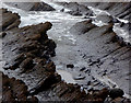 SS2118 : Shoreline at Welcombe Mouth, Devon by Roger  Kidd