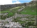 NN2545 : Scree and cliffs in Coire Toaig by wrobison