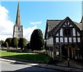 SO8609 : Steeple and lychgate, St Mary's Church, Painswick by Jaggery