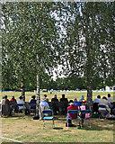 TQ0893 : Spectators shaded by silver birch by John Sutton
