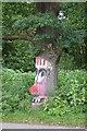 SJ7956 : Painted oak on Sandbach Road North by Jonathan Hutchins