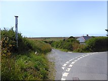 SX5547 : Three Corner Cross near Noss Mayo by David Smith