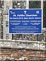TG2115 : St Mary & St Peter's Church sign by Adrian Cable