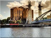 SJ8097 : Ship Canal, Lowry Bridge and Quay West by David Dixon