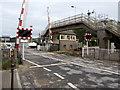 SN3610 : Ferryside railway station level crossing  and footbridge by Jaggery