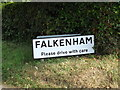 TM2839 : Falkenham Village Name sign on Back Road by Adrian Cable