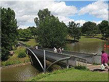 SJ6855 : Queen's Park: lake, south bridge by Stephen Craven