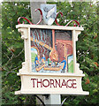 TG0536 : Thornage village sign (detail) by Adrian S Pye