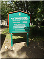 TM1469 : All Saints Church sign by Adrian Cable