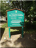 TM1469 : All Saints Church sign by Geographer
