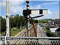 SN3610 : White back of a semaphore signal in the stop position, Ferryside railway station by Jaggery