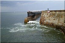 NZ8911 : Surge through West Pier, Whitby by David Smith