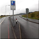 SS8591 : Priority over oncoming vehicles sign, Ffordd Dysgu, Maesteg by Jaggery