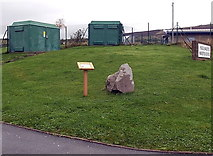 SS8591 : Waymarker stone and two electricity substations near the main entrance to Maesteg School by Jaggery