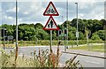 """J4272 : """"Cycles crossing"""" and """"pedestrians in road"""" signs, Dundonald (August 2015) by Albert Bridge"""