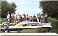 TG4419 : Boat passing the new floating bridge at Martham Ferry by Evelyn Simak