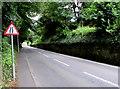 SN1014 : Road narrows warning sign, Narberth by Jaggery