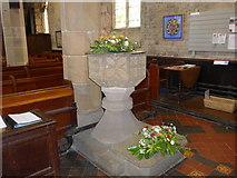 SK2381 : St Michael, Hathersage: font by Basher Eyre