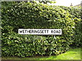 TM1468 : Wetheringsett Road sign by Adrian Cable