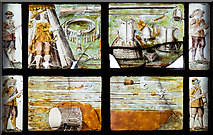 SJ4154 : St Chad's church, Farndon - the Civil War window (2) by Mike Searle