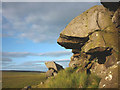 NY7469 : Overhang on Swallow Crags by Karl and Ali