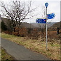SS8596 : National Cycle Network signpost in Cymmer by Jaggery