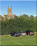 SO8454 : Worcester Cathedral and the cricket ground car park by John Sutton