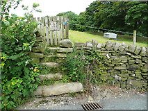 SE0322 : Gate and steps on Sowerby Bridge FP100, Link B by Humphrey Bolton