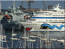 SW8132 : The cruise ship 'AIDAcara' in Falmouth harbour by Rod Allday