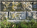 NZ9701 : Weathered bench mark in Raven Hall Road, Ravenscar by John S Turner