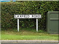 TM2867 : Laxfield Road sign by Adrian Cable