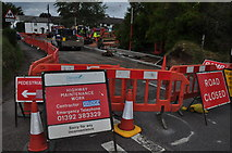 SX9896 : Broadclyst : Roadworks by Lewis Clarke
