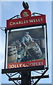 TL0635 : Sign for the Jolly Coopers, Wardhedges by JThomas