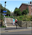 SZ5881 : Steps up to Shanklin railway station from two trails by Jaggery
