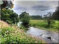 SD7434 : River Calder, Looking Upstream from Read Garden Centre by David Dixon