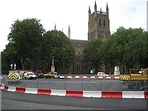SO8554 : Roadworks in front of Worcester Cathedral by Philip Halling