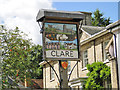 TL7645 : Clare town sign (detail) by Adrian S Pye