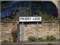 TM1763 : Priory Lane sign by Adrian Cable
