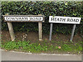TQ7195 : Downham Road & Heath Road signs by Adrian Cable