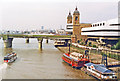TQ3280 : Upstream on River Thames from London Bridge, 1993 by Ben Brooksbank