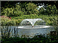 TQ3499 : Fountain on Lake, Capel Manor, Enfield by Christine Matthews