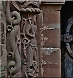 SO4430 : Kilpeck: The church of St. Mary and St. David: Detail from the left column of the south doorway by Michael Garlick