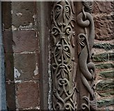 SO4430 : Kilpeck: The church of St. Mary and St. David: Detail from the right column of the south doorway by Michael Garlick