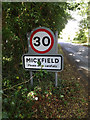 TM1361 : Mickfield Village Name sign on Mickfield Road by Adrian Cable