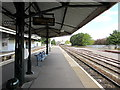 ST5716 : Help Point and benches on Yeovil Pen Mill railway station  by Jaggery