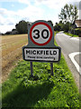 TM1362 : Mickfield Village Name sign on Mickfield Road by Adrian Cable