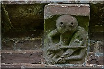 SO4430 : Kilpeck: The church of St. Mary and St. David: Musician with rebec corbel by Michael Garlick