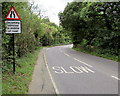 SZ5589 : Oncoming vehicles in middle of road warning sign,  Main Road by Jaggery