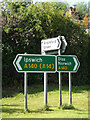 TM1165 : Roadsigns on the A140 Ipswich Road by Adrian Cable